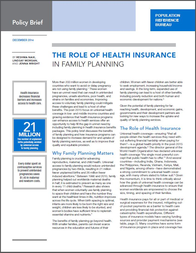 Cover Page: The Role of Health Insurance in Family Planning