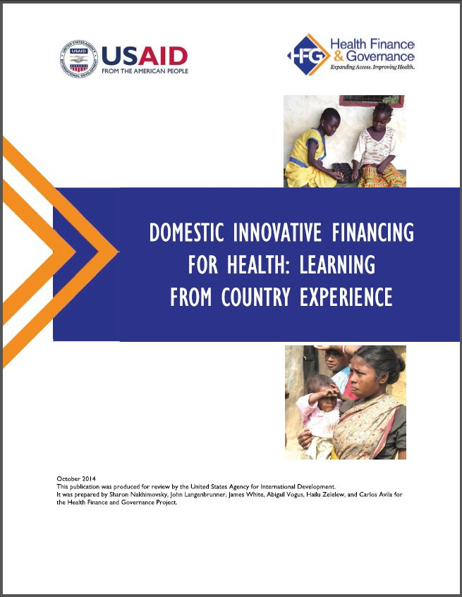 Cover Page: Domestic Innovative Financing for Health: Lessons from Country Experience