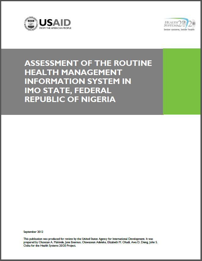 Cover Page of Assessment of the Routine Health Management Information System in Imo State, Federal Republic of Nigeria