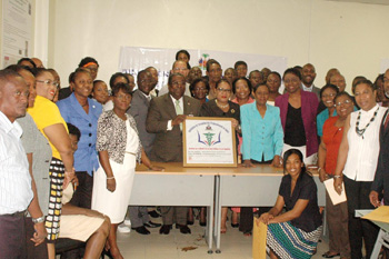Ministry of Health staff, headmasters, school participants, and HFG staff at the logo announcement ceremony.