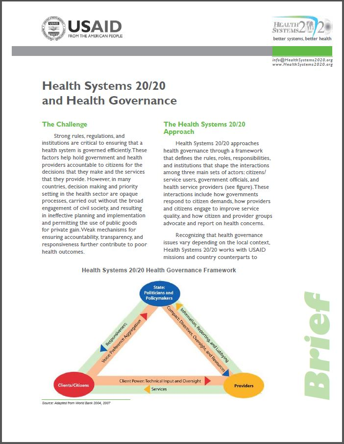 first page of health systems 20/20 and health governance