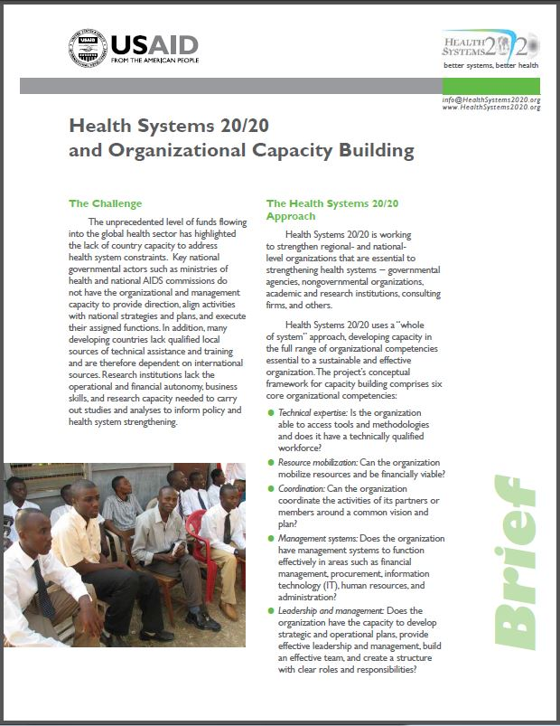 First Page: Health Systems 20/20 and Capacity Building