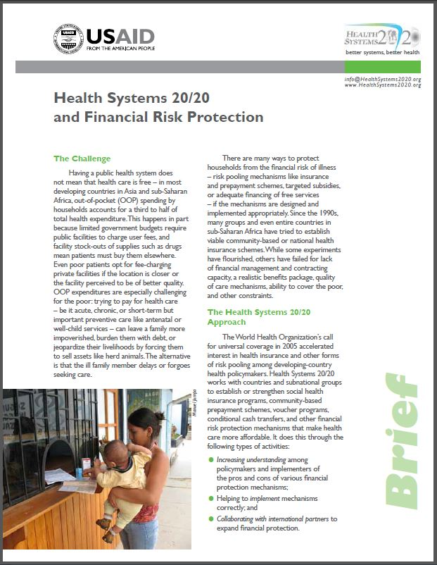 First Page: Health Systems 20/20 and Financial Risk Protection