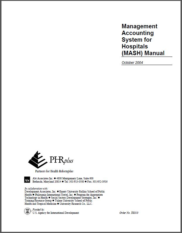Cover Page: Management Accounting Systems for Hospitals (MASH) Manual