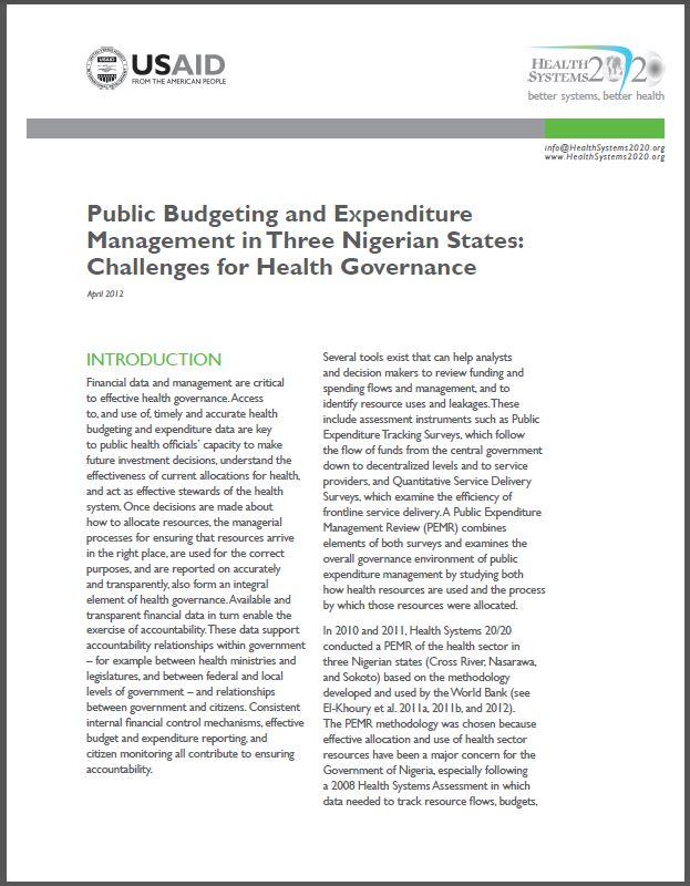 First Page: Public Budgeting and Expenditure Management in Three Nigerian States: Challenges for Health Governance
