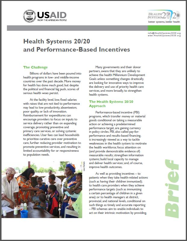 First Page: Health Systems 20/20 and Pay for Performance (P4P)