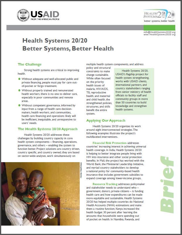 First Page: Health Systems 20/20 Project Brief
