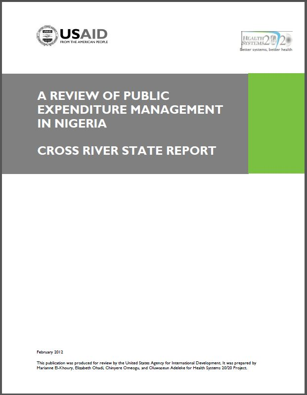 Cover Page: A Review of Public Expenditure Management in Nigeria: Cross River State Report