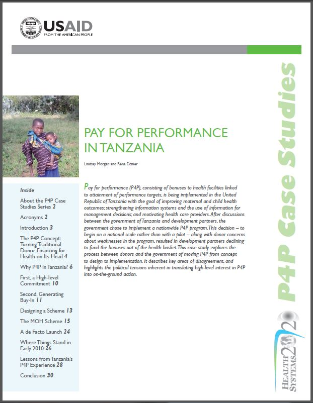 Cover Page: Pay for Performance in Tanzania