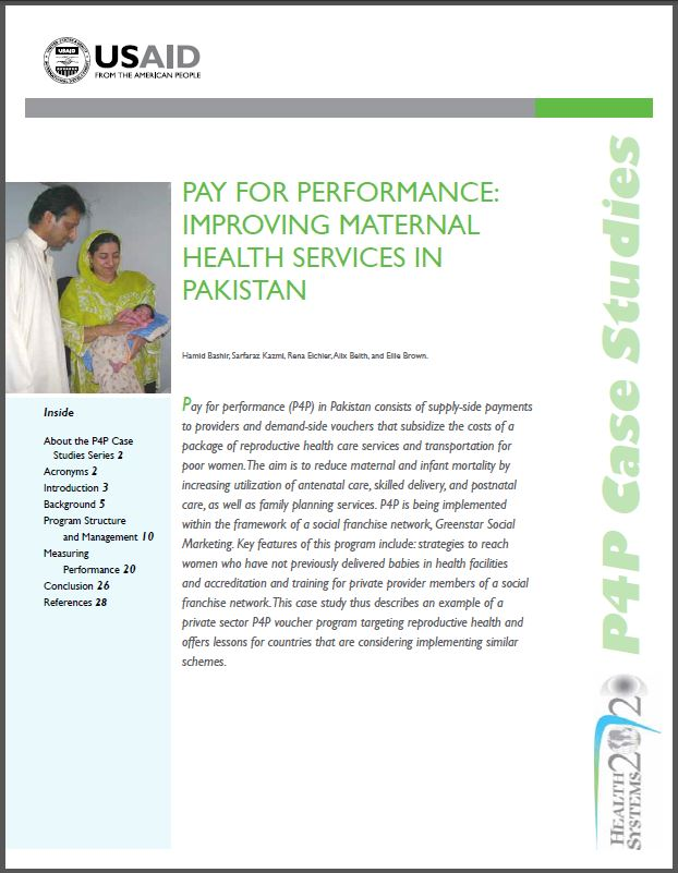 First Page: Pay for Performance: Improving Maternal Health Services in Pakistan