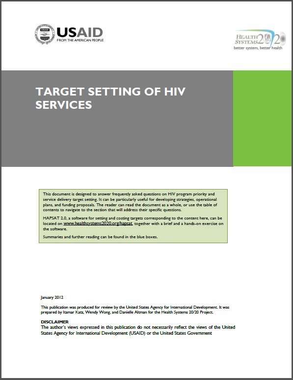 Cover Page: Target Setting of HIV Services