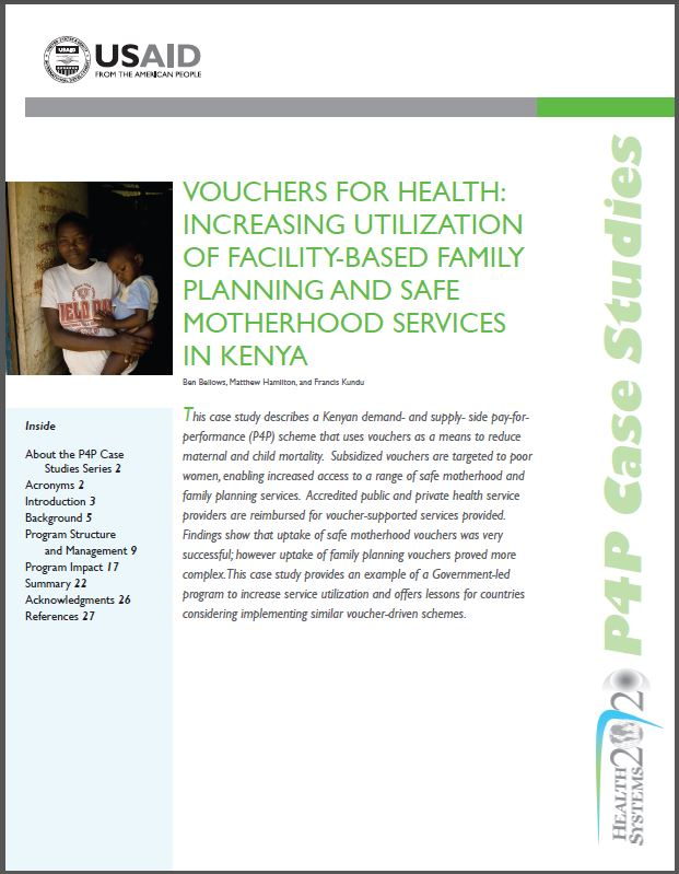 First Page: Vouchers for Health: Increasing Utilization of Facility-based Family Planning and Safe Motherhood Services in Kenya