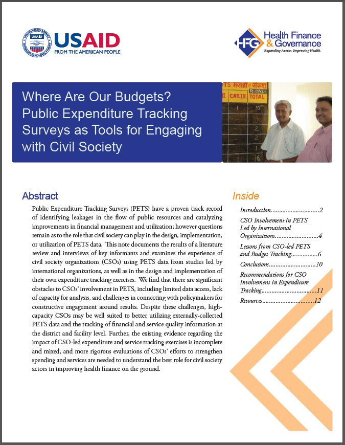 First Page: Where Are Our Budgets? Public Expenditure Tracking Surveys as Tools for Engaging with Civil Society