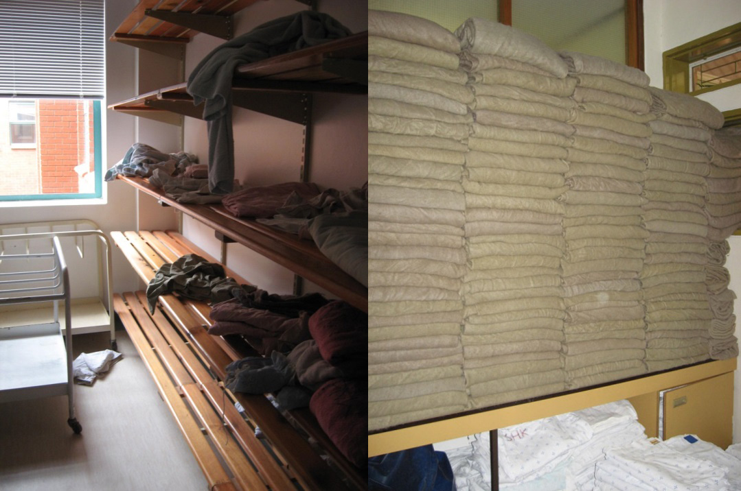 Linen closet at hospital in Botswana before (messy) and after (clean).