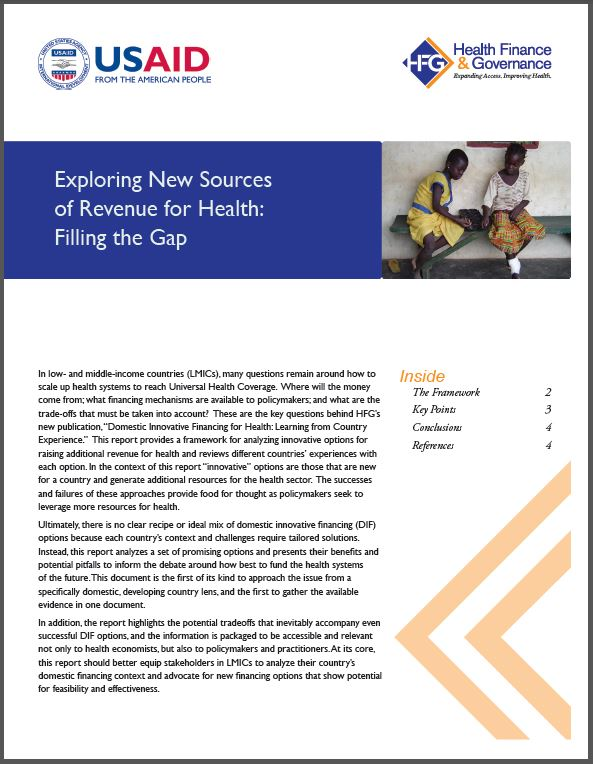 First Page: Exploring New Sources of Revenue for Health: Filling the Gap