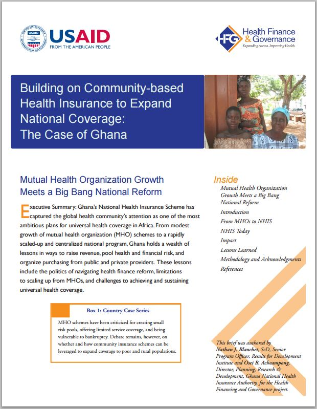 First Page: Building on Community-based Health Insurance to Expand National Coverage: The Case of Ghana