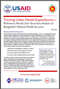 First page: Tracking Urban Health Expenditures - Preliminary Results from Secondary Analysis of Bangladesh National Health Accounts
