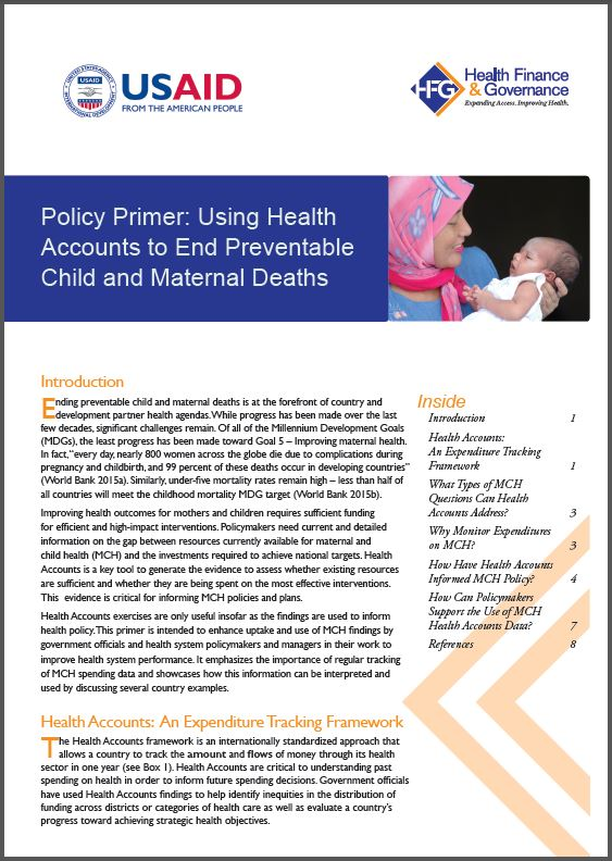 first page of Policy Primer: Using Health Accounts to End Preventable Child and Maternal Deaths
