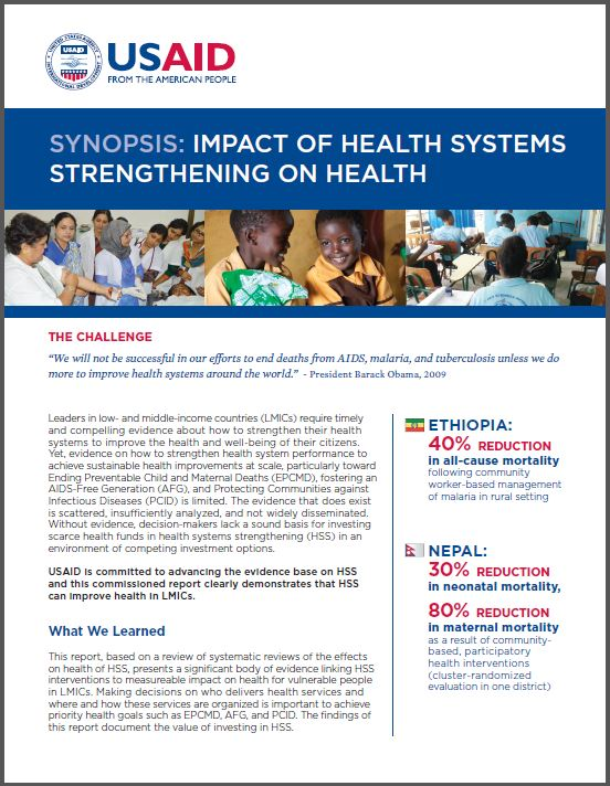 First Page: Synopsis: Impact of Health Systems Strengthening on Health