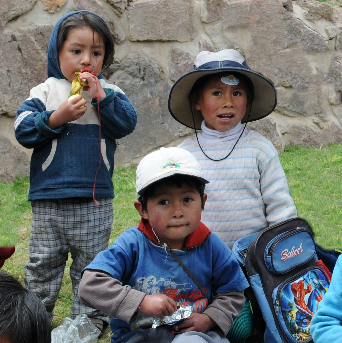 three peruvian children