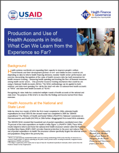 Production and Use of health accounts in India screenshot