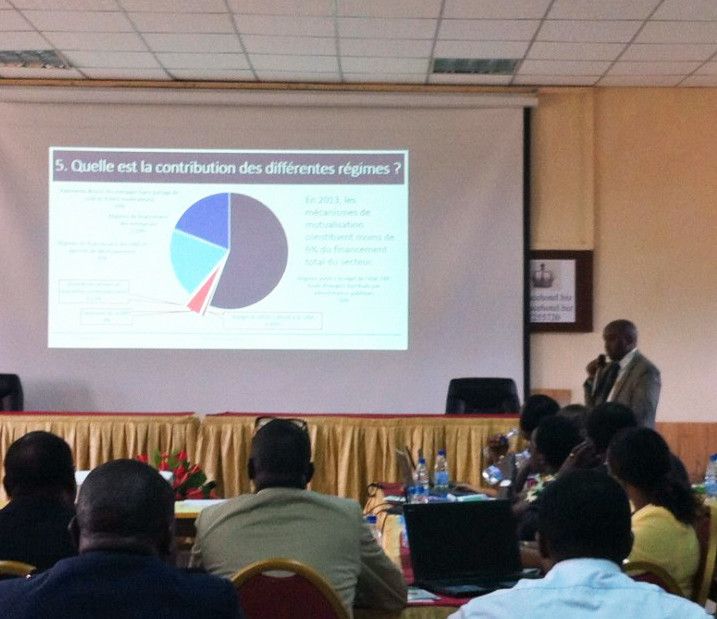 Dr. Longin Gashubije, former Director General of Planning, MSPLS, presents the results of the 2012 and 2013 Health Accounts.