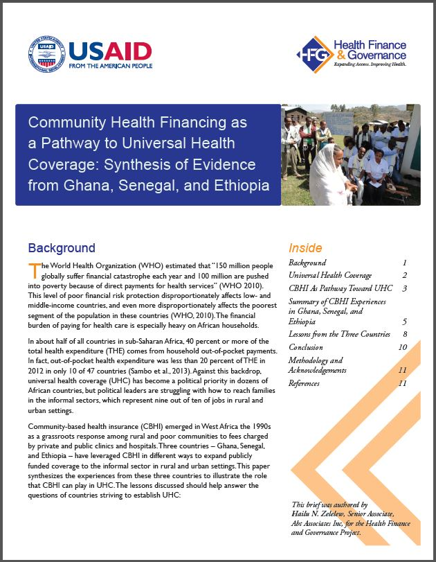 First Page: Community Health Financing as a Pathway to Universal Health Coverage: Synthesis of Evidence from Ghana, Senegal, and Ethiopia