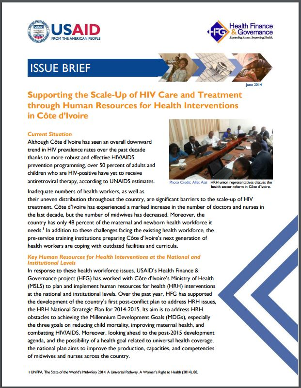 First Page: Supporting the Scale-Up of HIV Care and Treatment through Human Resources for Health Interventions in Côte d'Ivoire