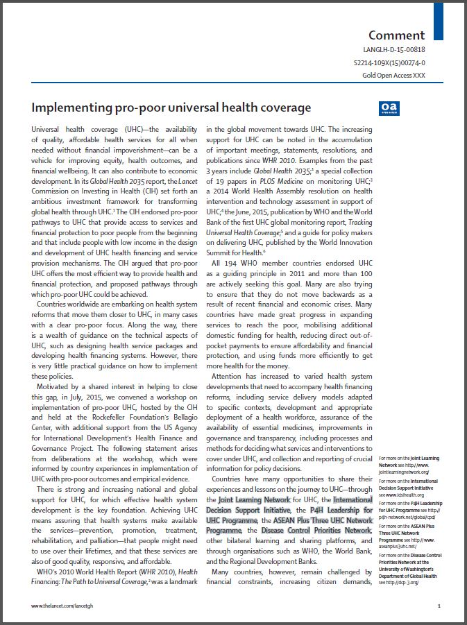 first page: Implementing pro-poor universal health coverage