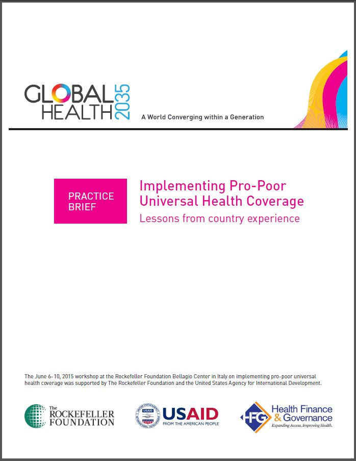 Cover page: Practice Brief: Implementing Pro-Poor Universal Health Coverage - Lessons from country experience