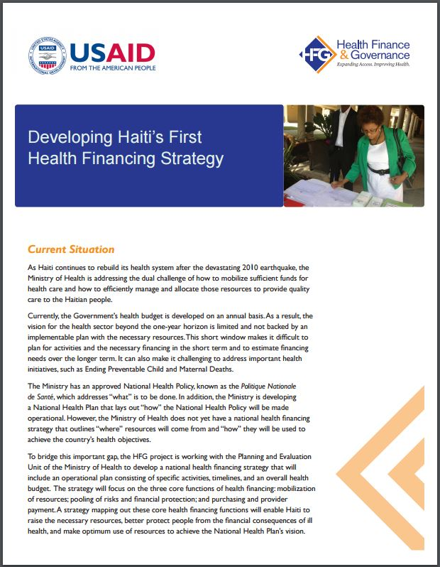 Cover Page: Developing Haiti's First Health Financing Strategy