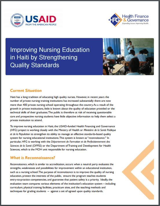 Title Page: Improving Nursing Education in Haiti by Strengthening Quality Standards