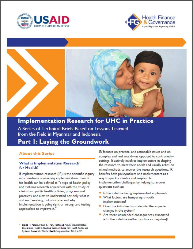 Front page: Implementation Research for UHC in Practice - Lessons Learned in Myanmar and Indonesia, Part 1: Laying the Groundwork