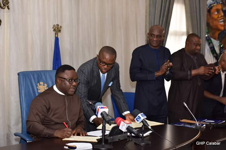 CRS Governor Prof. Ayade signs State Health Insurance Bill (Ayadecare) into law. Photo Credit: GHP Calabar